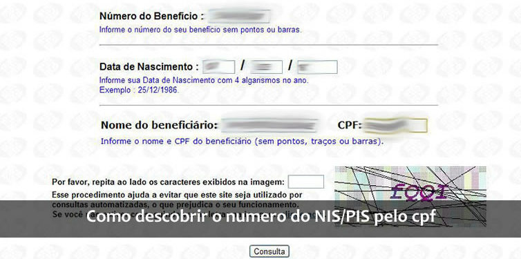 como descobrir o numero do NIS/PIS pelo cpf